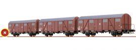 BRAWA 67805 Gedeckte Güterwagen-Set 3-tlg. Gbs 245 DB | Spur N online kaufen