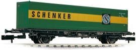 FLEISCHMANN 824006 Containertragwagen Bauart Lbs 598 der DB mit Container SCHENKER 1:160 online kaufen