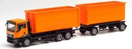herpa 311380 MAN TGX NN Abrollcontainer-Hängerzug kommunalorange | LKW-Modell 1:87 online kaufen