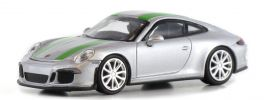 MINICHAMPS 870066225 Porsche 911 R  2016 silber mit grünen Streifen Automodell 1:87 online kaufen