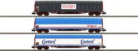MINITRIX 15375 Schiebeplanenwagen-Set Mineralwassertransport SNCF | Spur N online kaufen