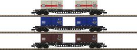 MINITRIX 15961 Güterwagen-Set Containertrans DB | Spur N online kaufen