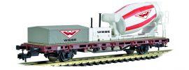Viessmann 2627 Niederbordwagen mit Betonmischer WIEBE für Dreileitersystem Fertigmodell 1:87 online kaufen