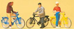 Preiser 10515 Stehende Radfahrer am Bahn�übergang | 3 Stück | Figuren Spur H0 online kaufen