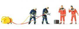 Preiser 10625 Feuerwehrmänner in moderner Einsatzkleidung | 4 Miniaturfiguren + Zubehör | Spur H0 online kaufen