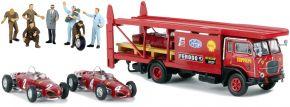 BREKINA 58475 Fiat Baffo Renntransporter mit 2x Ferrari F156 + Figuren | Sonderset 1:87 kaufen