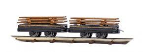 BUSCH 12218 Zwei Wagen mit Bretterladung Feldbahnwagen 1:87 kaufen