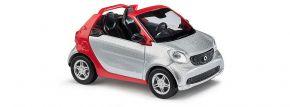 BUSCH 50773 Smart Fortwo Cabrio 2015 CMD silber Automodell 1:87 kaufen