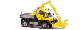 BUSCH 50926 MB Unimog U430 mit Mähwerk, gelb | LKW-Modell 1:87 kaufen
