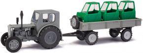 BUSCH 210006430 Pionier + Anhänger mit Fahrerhäusern | Landwirtschaftsmodell 1:87 kaufen