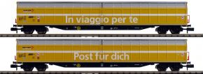 FLEISCHMANN 838312 2 tlg. Set Großraum-Schiebewandwagen Post SBB | Spur N kaufen