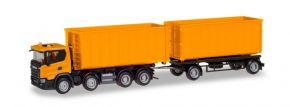 herpa 309950 Scania CG17 8x4 Abrollmulden-Hängerzug kommunalorange LKW-Modell 1:87 kaufen