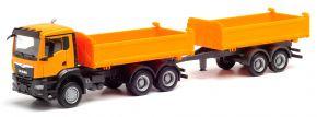 herpa 312370 MAN TGX NN Tandem-Baukipper-Hängerzug kommunalorange | LKW-Modell 1:87 kaufen