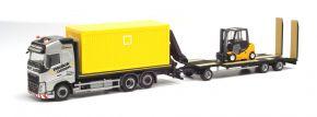 herpa 312769 Volvo FH GL  Flachbett-LKW mit Container Goldhofer TU3 Wallek und Geser LKW-Modell 1:87 kaufen