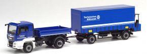 herpa 312783 MAN TGS L Euro6c Kipper LKW mit Anhänger und Mitnahmestapler  THW Blaulichtmodell 1:87 kaufen