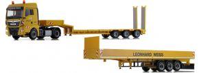 herpa 940160 MAN TGX XLX Euro6c mit Pritschenauflieger und Semitieflader Leonhard Weiss LKW-Modell kaufen
