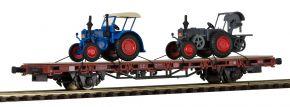 kibri 26252 Niederbordwagen mit zwei Lanzbuldogs, Fertigmodell Spur H0 kaufen