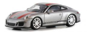 MINICHAMPS 870066221 Porsche 911 R 2016 silber mit roten Streifen Automodell 1:87 kaufen