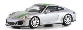 MINICHAMPS 870066225 Porsche 911 R  2016 silber mit grünen Streifen Automodell 1:87 kaufen