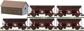 MINITRIX 15536 Seitenentladewagen-Set 5-tlg. mit Haus DB | Spur N kaufen