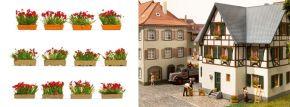 NOCH 14010 Blumenkästen blühend rot | 12 Stück | Spur H0 kaufen