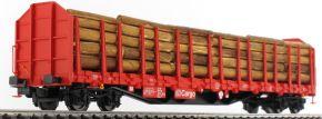 PIKO 54339 Stammholztransportwagen Roos-t642 DB AG V | DB Cargo | Echtholzladung | Spur H0 kaufen