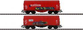 PIKO 58378 2er Set Schiebeplanenwagen Shimmns mit Graffiti NS | Spur H0 kaufen