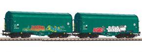 PIKO 58379 2er Set Schiebeplanenwagen Shimmns mit Graffiti FS   Spur H0 kaufen