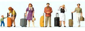 Preiser 10641 Stehende Reisende mit Trolleys Figuren Spur H0 kaufen