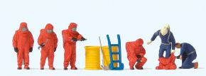 Preiser 10730 Feuerwehrmänner, Roter Vollschutzanzug und Zubehör   Figuren Spur H0 1:87 kaufen