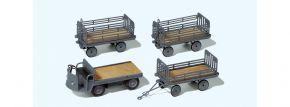 Preiser 17122 Elektrokarre mit 3 Anhängern | DB | Zubehör Spur H0 1:87 kaufen