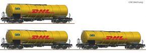 Roco 76029 3-tlg. Set Kesselwagen Zacns GATX, DHL | DC | Spur H0 kaufen