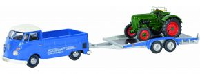 Schuco 450374000 VW T1 Pritsche mit Hänger und Traktor | Automodell 1:43 kaufen