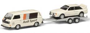 Schuco 452651000 VW T3c AUDI SPORT mit Anhänger | Modellauto 1:87 kaufen