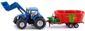 siku 1988 New Holland mit Frontlader und Futtermischwagen | Traktormodell 1:50