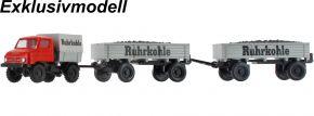WIKING 037183 MB U 411 mit zwei Pritschenanhängern | Ruhrkohle | LKW-Modell 1:87 kaufen