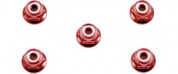 TAMIYA 53160 Radmuttern M4 mit Kragen rot (5)