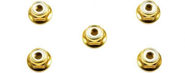 TAMIYA 53161 Radmuttern M4 mit Kragen gold (5)
