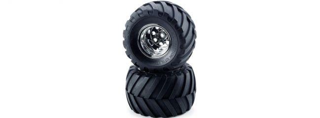 TAMIYA 9805618 Reifen auf Felge voren Chrom (2) Wild Willy