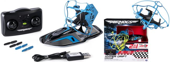 AIRHOGS 6040078 Hyper Drift Drone Hovercraft | 2 in 1 | RC Spielzeug