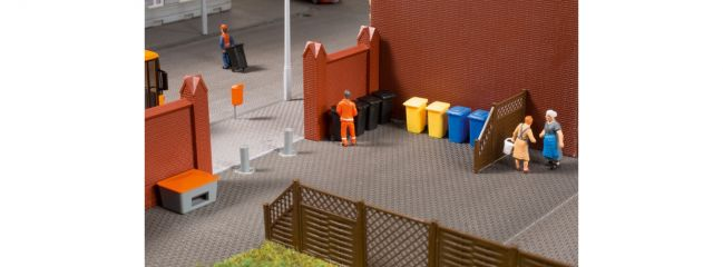 Auhagen 41649 Set Mülltonnen mit Zubehör   Bausatz Spur H0