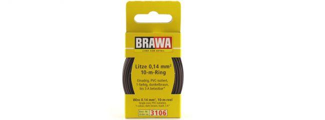 BRAWA 3106 Litze | 0,14 mm² | 10 m Ring | Dunkelbraun