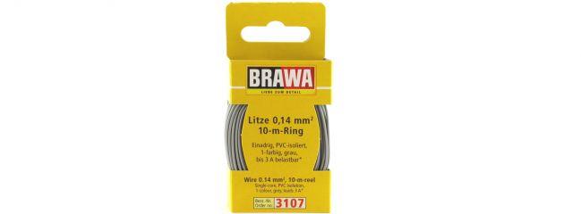 BRAWA 3107 Litze | 0,14 mm² | 10 m Ring | Grau