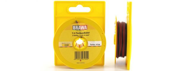 BRAWA 3169 Flachbandlitze | 0,14 mm² | 2-adrig | 5 m Abrollspule | rot/schwarz