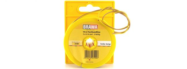 BRAWA 3199 Flachbandlitze | 0,14 mm² | 10m | Abrollspule | braun/gelb