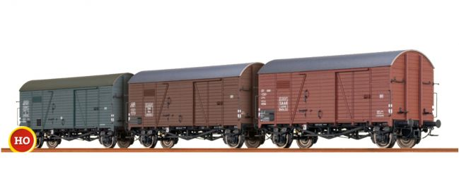 BRAWA 45901 Güterwagen Set 3-tlg. Gms 30 SAAR/ÖBB/SNCF/EUROP | Spur H0