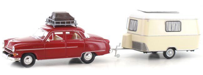 BREKINA 20871 Opel Kapitän mit Wohnwagen   Automodell 1:87