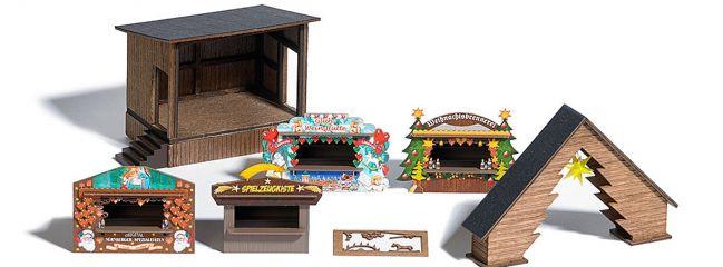 BUSCH 1183 Wald-Weihnachtsmarkt ECHTHOLZ-Bausatz Spur H0