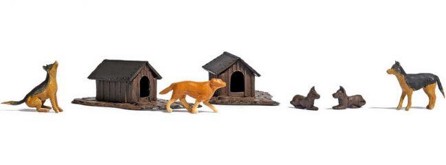 BUSCH 1197 Hunde-Set | Hunde und Hütten | Spur H0