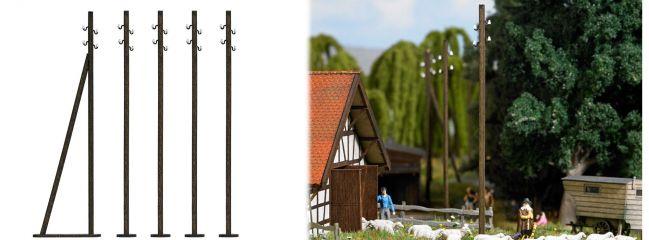 BUSCH 1569 Freileitungsmasten ECHTHOLZ-Bausatz Spur H0